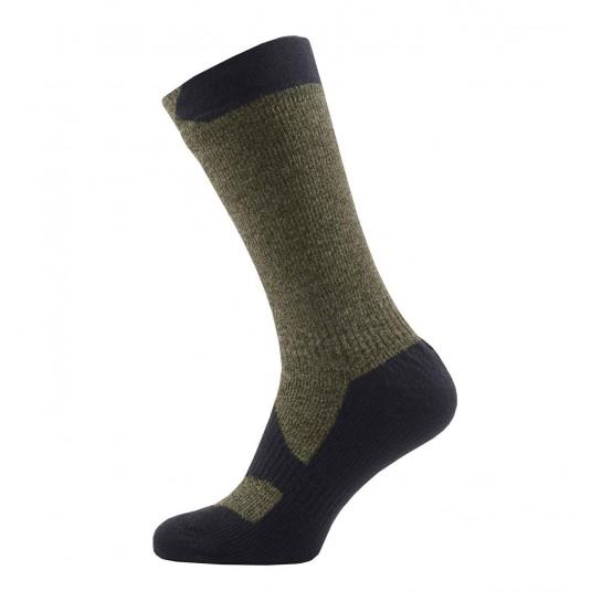SealSkinz Walking Thin Mid Waterproof Socks Olive Green/Grey