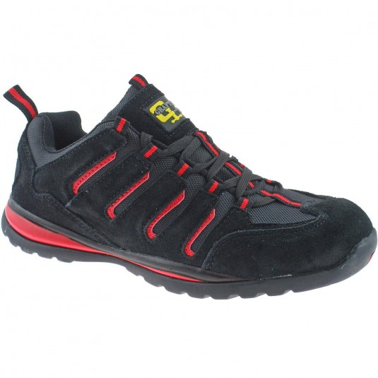 Grafters Suede Safety Toe Cap Trainers Mens Shoes Black