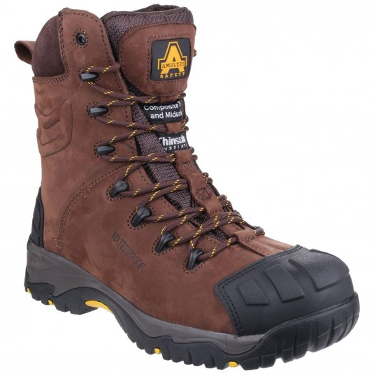 Amblers Safety AS995 Pillar Waterproof Hi-leg Lace up Safety Boot Brown