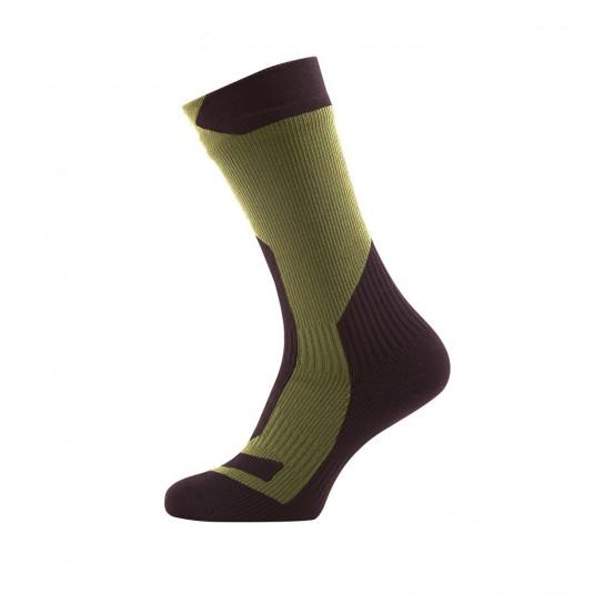 SealSkinz Trekking Thick Mid Waterproof Socks Olive Green/Green
