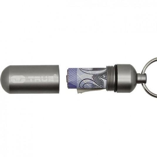 True Utility CashStash - Waterproof Aluminium Key Ring Capsule with CashClip TU241