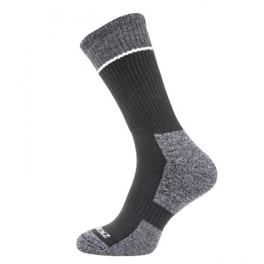 SealSkinz Solo Quickdry Mid Length Non Waterproof Socks Black/Grey/White