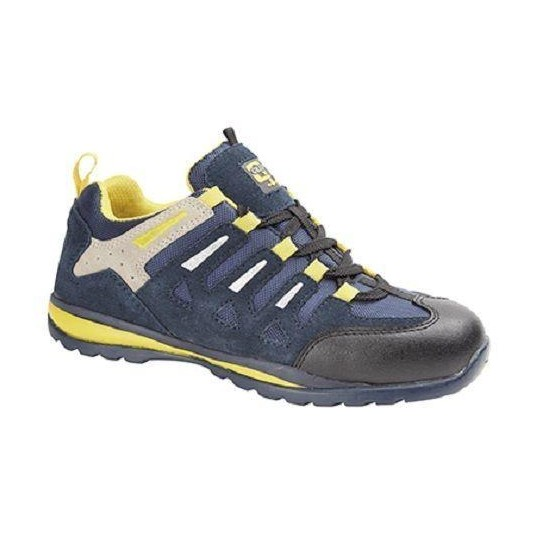 Grafters  Suede Lace-Up Work Metal Safety Trainers Navy Blue