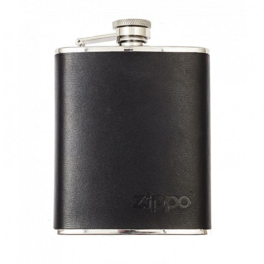 Zippo Leather Wrapped Hip Flask In Black