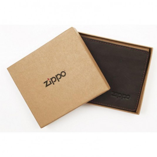 Zippo Leather Bi-Fold 2 Cards Wallet In Mocha