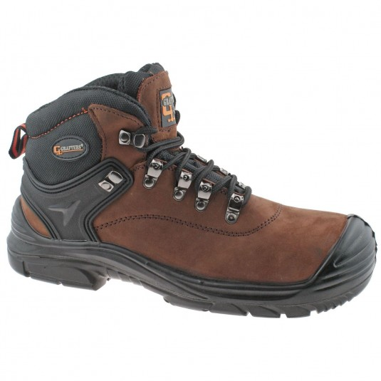 Grafters Leather Waterproof Wide Fit Lace Up Safety Mens Boots Brown