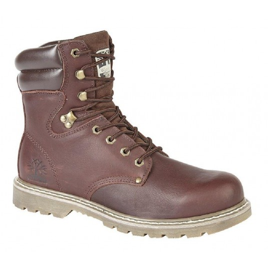 Woodland Martin High Leg Padded Utility Leather Boots In Dark Brown