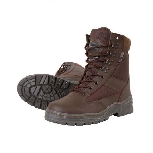 Kombat UK Half Leather Patrol Boot In Brown