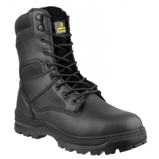 Amblers FS008 Black Security Tactical Combat Safety Zip-Up Work Boot