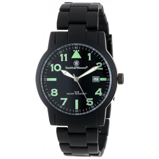 Smith & Wesson Mens SWW-167 Pilot Basic Round Black Face with Black Stainless Steel Strap