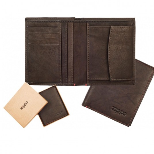 Zippo Leather Vertical Wallet Mocha Genuine Leather With Coin Pocket