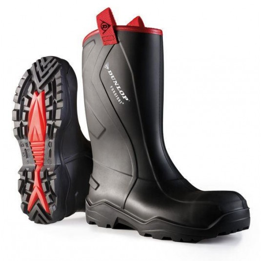 Dunlop Purofort+ Rugged Full Safety Wellington Boots Black