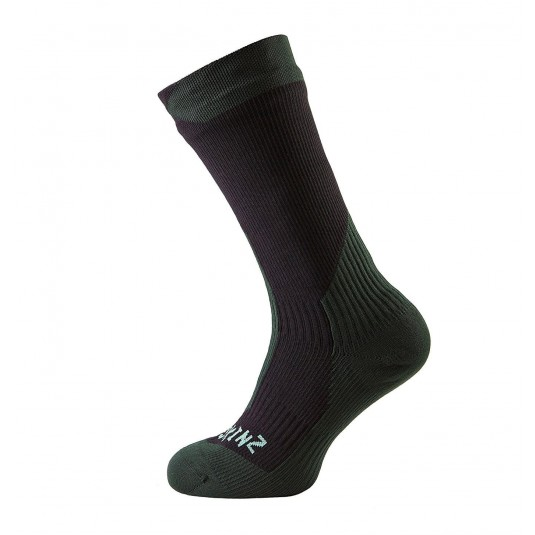 SealSkinz Trekking Thick Mid Waterproof Socks Black/Green