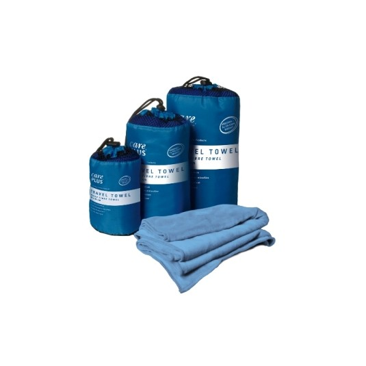 Care Plus Travel Towels Large Blue Microfibre