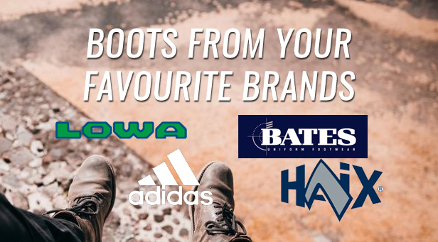 Footwear from Adidas, Lowa, Bates, Haix and more!